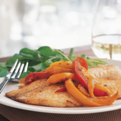 Roasted Fish with Colored Peppers