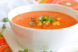 Red Pepper, Corn & Tomato Soup