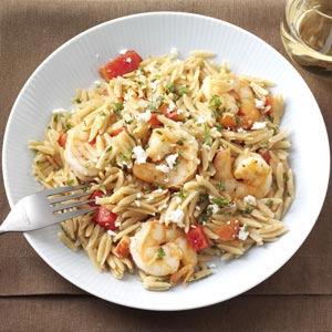 Shrimp with Orzo Pasta & Feta