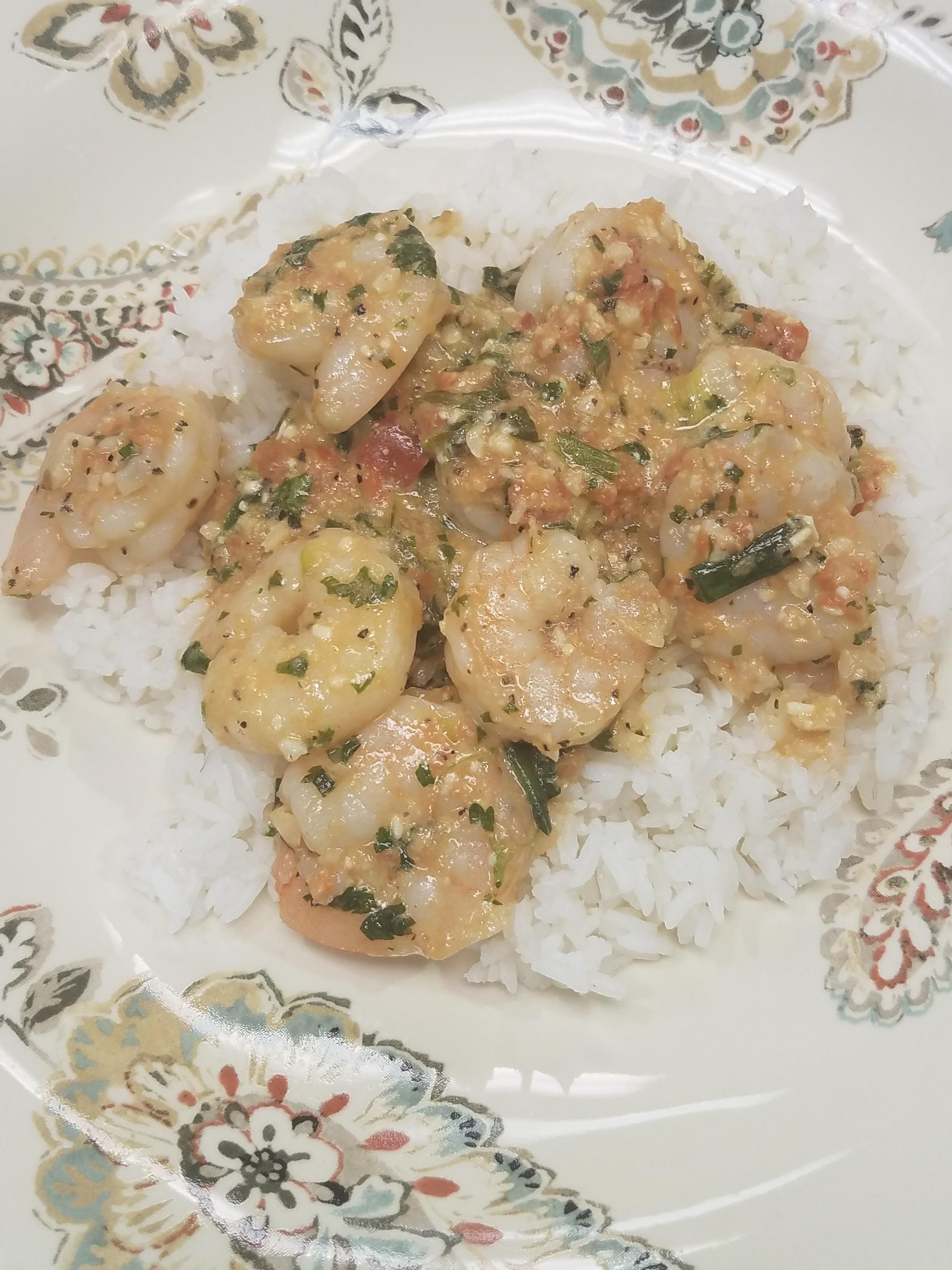 Texas Pesto Shrimp over Rice