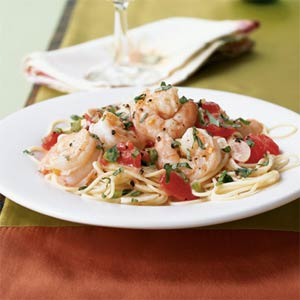 Shrimp with Basil, Garlic, & Tomato