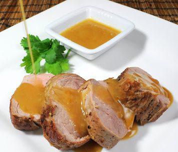 Spice Rubbed Pork Tenderloin w/ Mustard BBQ Sauce